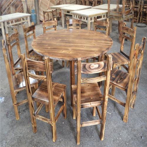标准碳化圆桌-铜钉椅套装
