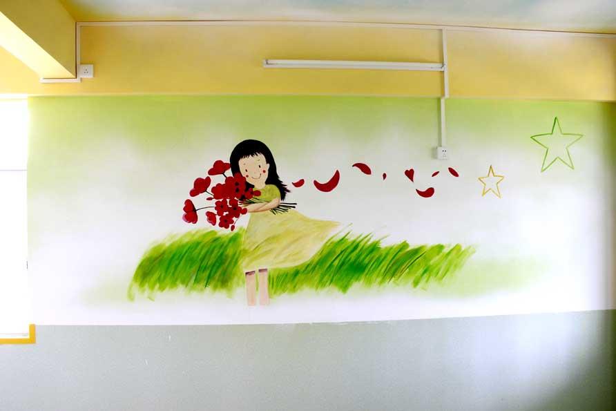 服务范围包括幼儿园外墙壁画喷绘