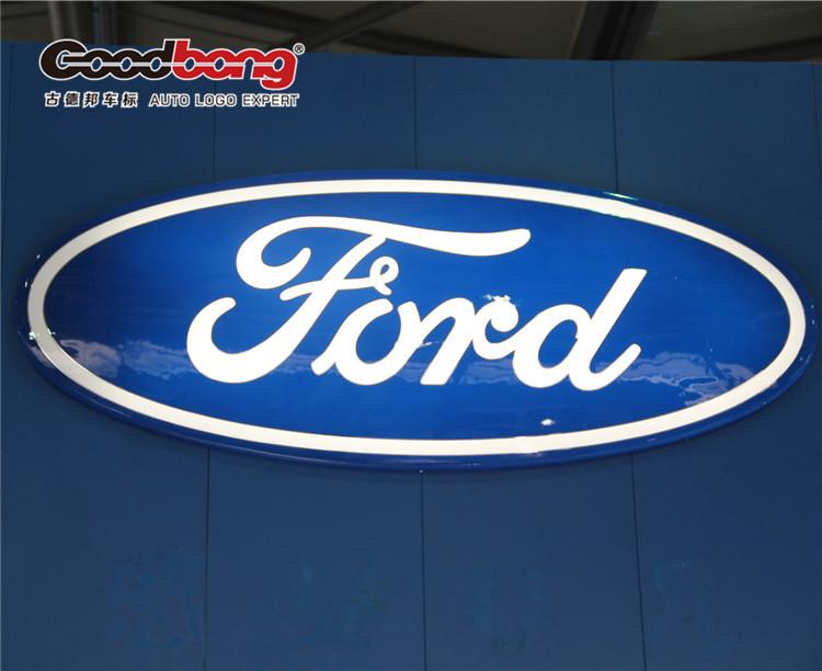 """商标是蓝底白字的英文""""ford""""字样,被艺术化了的""""ford""""形似活泼可爱"""