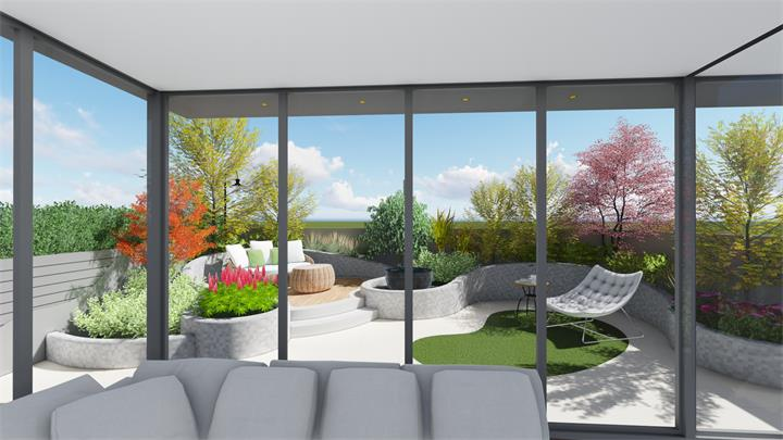 私家別墅園林景觀設計, 一樓小花園設計實景圖找深圳南山區艾地景觀期