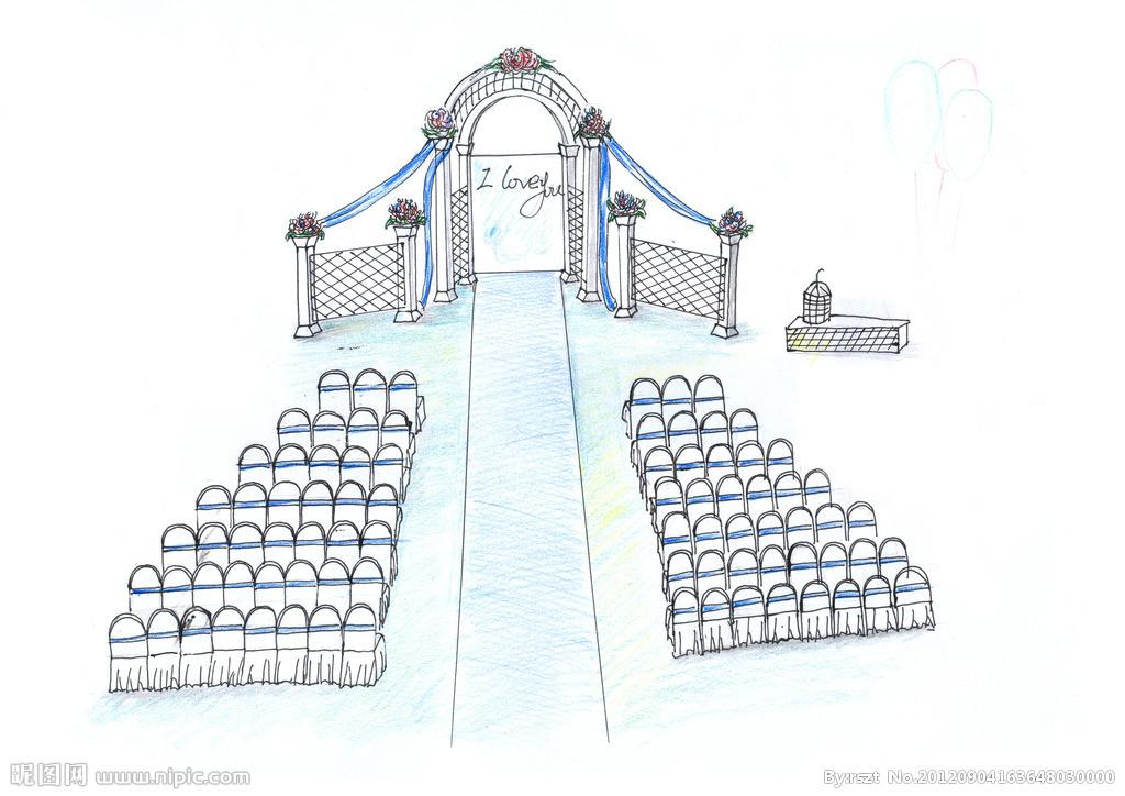 婚礼现场简笔画图片