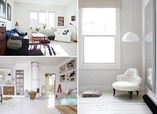 北欧风格白色木地板搭配 (550x400)-在窗帘地毯等软装搭配上