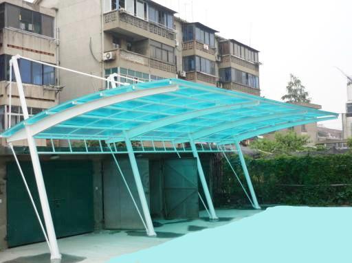 厂家直销 彩钢瓦车棚 阳光板自行车棚 膜结构车棚 汽车棚设计安装