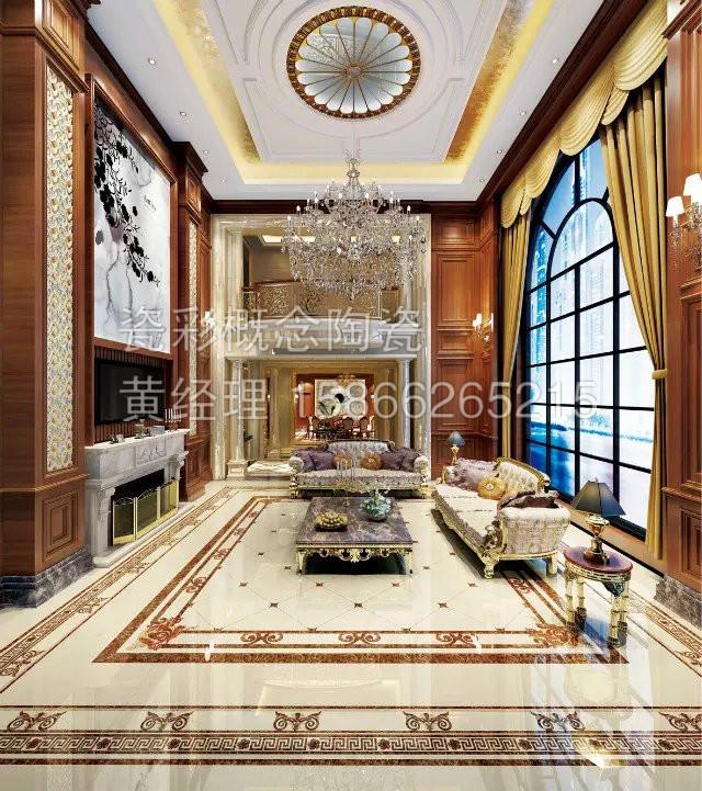 欧式奢华风格 地砖拼花大面积平铺瓷砖 无限延伸 不限尺寸图片