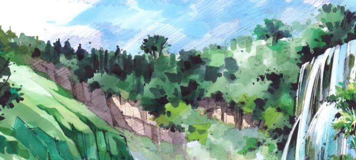 快速手绘景观赶路中高中马克笔上色朝作文提高植物v景观前图片