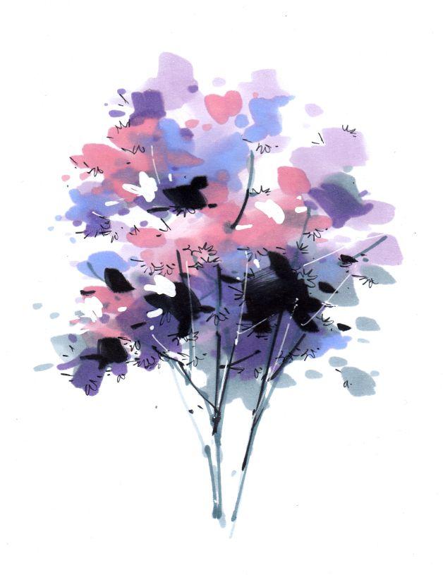 长沙卓越手绘培训教你用马克笔手绘画景观植物之二