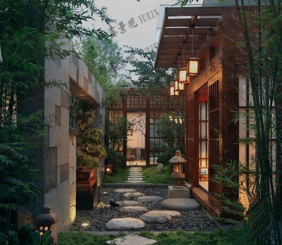 专业做小庭院花园景观设计,别墅私家花园设计,木结构工程设计,别墅