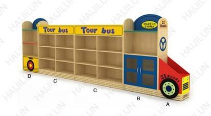 幼儿园玩具柜_海基伦巴士造型玩具柜
