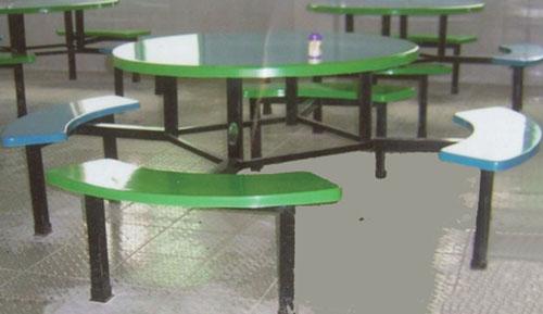 优点:美观,耐用,好清理  布吉食堂餐桌,玻璃钢餐桌,不锈钢餐桌,曲木