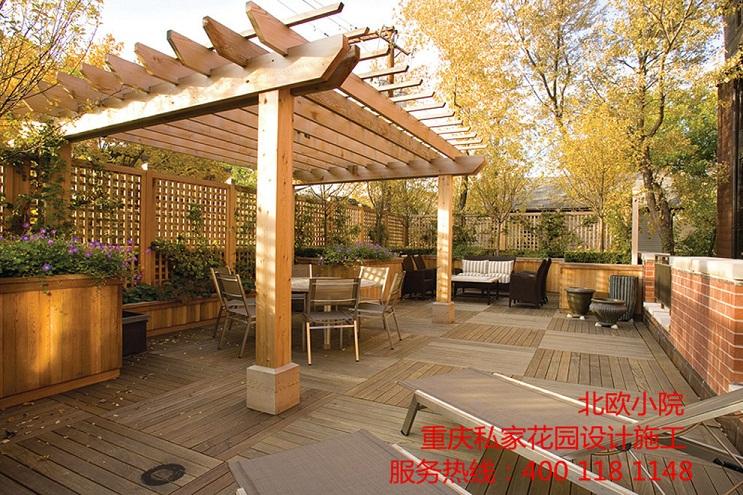 别墅高端木质小花园,私家后花园设计施工就找北欧小院