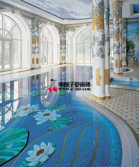 游泳池玻璃马赛克拼图-上海厂家设计供应-价格
