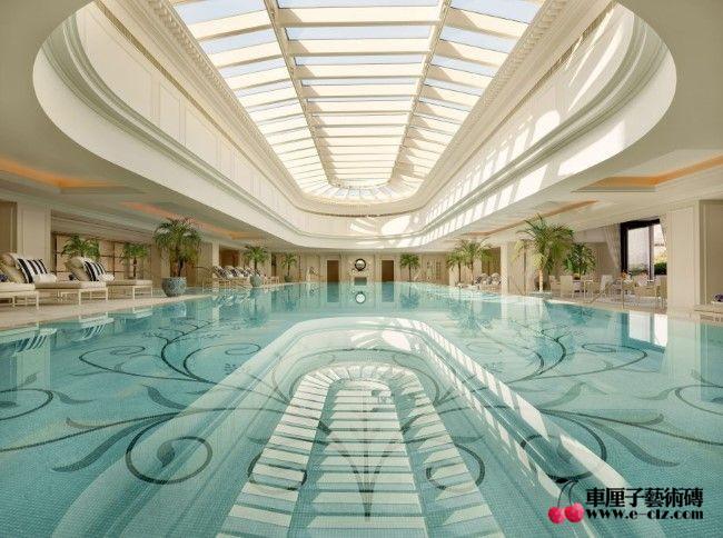 现代游泳池玻璃马赛克拼花,广州报价图片