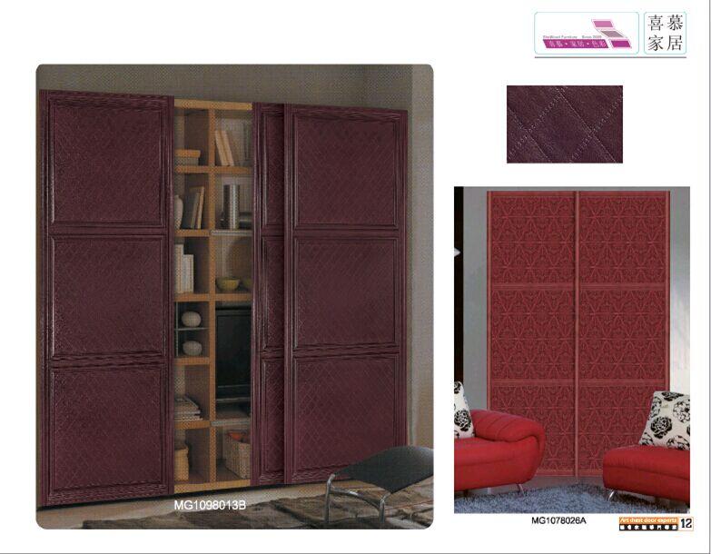 主要生产多层板贴实木皮衣柜移门,皮革软包衣柜移门,烤漆移门,实木
