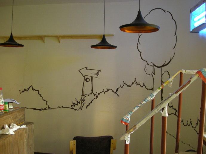 画室墙绘矢量图