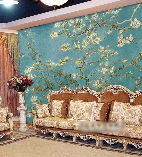 深圳客厅沙发背景墙墙画手绘制作,带来欣赏性极强的视觉效果