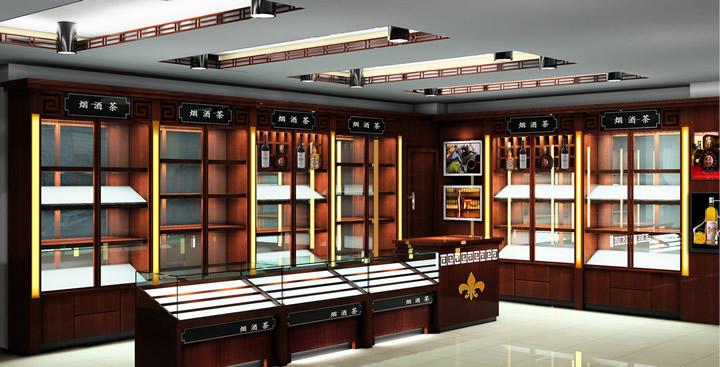 效果,货架及柜台的颜色决定了店面的主要风格,烟酒专卖店装修时选择的