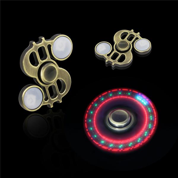 指尖陀螺生产厂家批发美元符号三叶金属发光手指陀螺