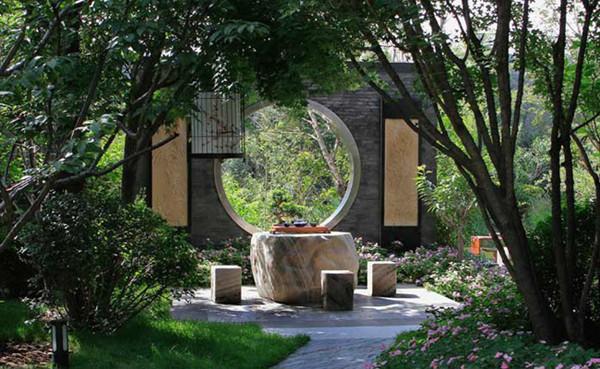 新中式庭院设计特点:它更为简洁明朗,新中式景观植物种植以自然型和修图片