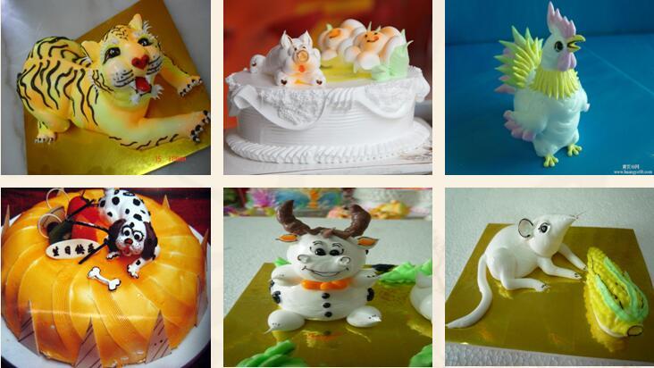 常见卡通动物的裱花 (2)植物,人物,字体的蛋糕裱花 十二生肖动物蛋糕