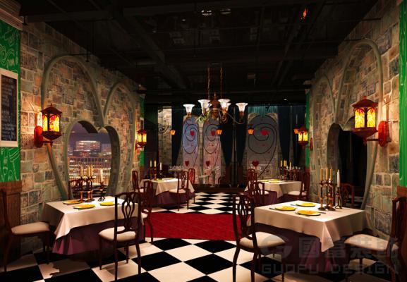 古代饭店墙面手绘图