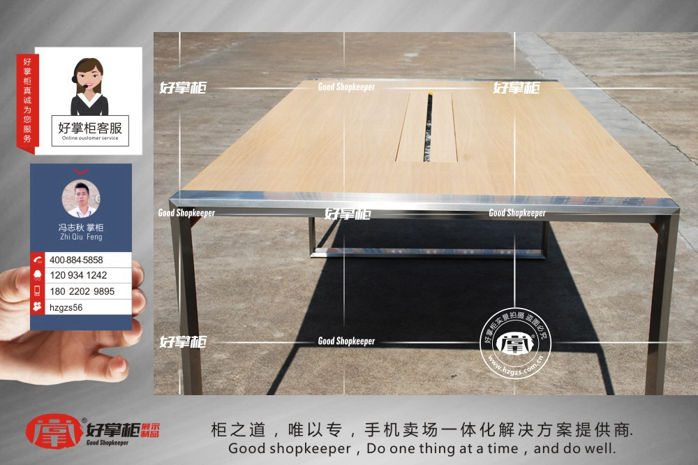 苹果木纹体验台河南平顶山苹果授权店定制中岛体验桌热销产品展示台