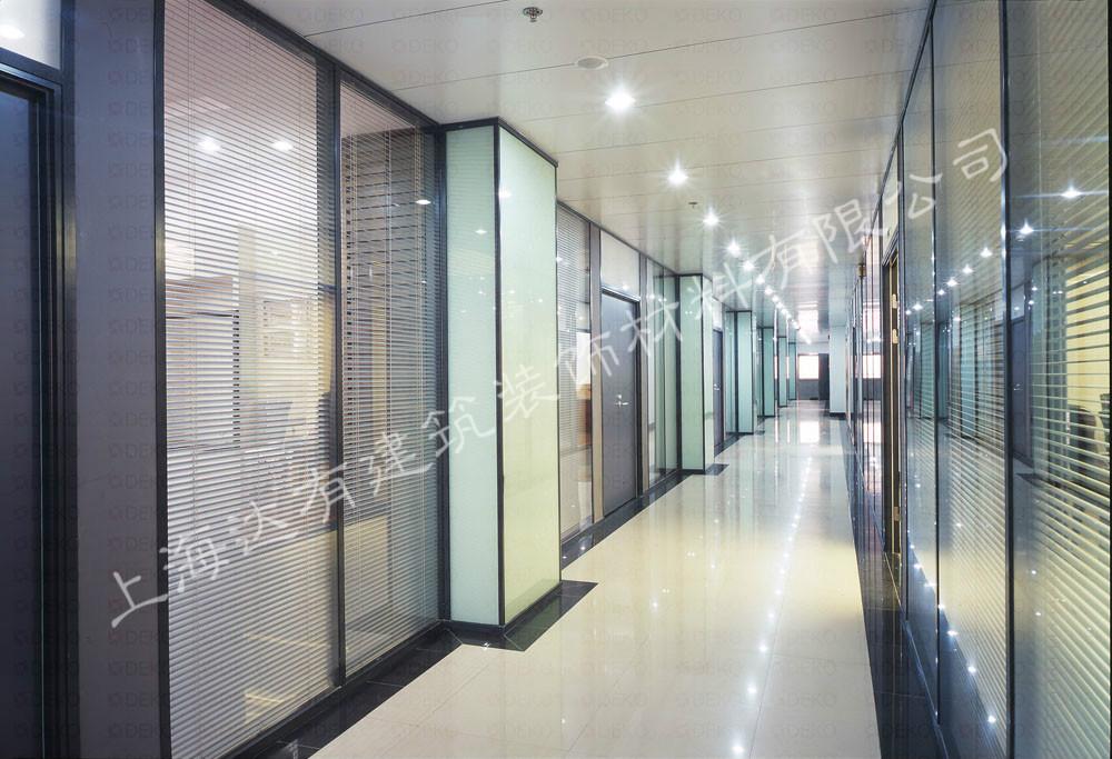 上海金融大厦玻璃百叶隔断 中空玻璃隔断 摇控百叶隔断