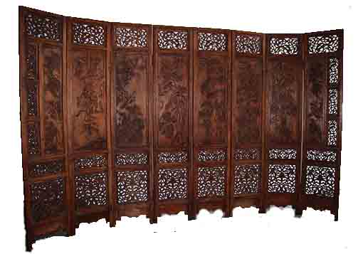 广州红木雕花屏风玄关镂空雕花隔板屏风厂家定做镂空木雕隔断价格