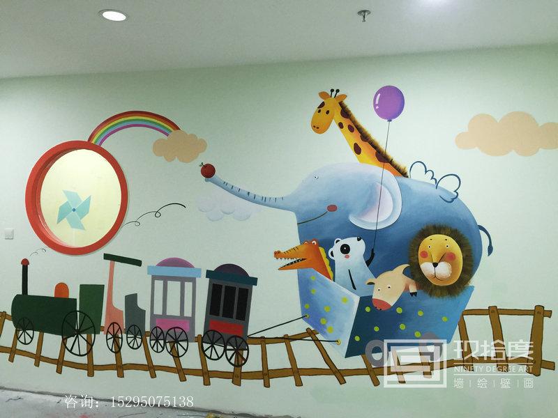 上海墙绘早教幼儿园墙绘手绘创意图片玖拾度墙绘公司
