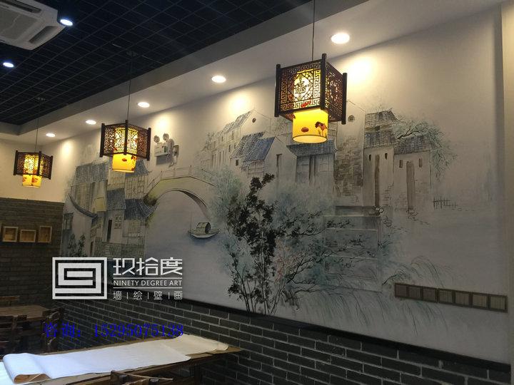 常州特色餐厅墙绘设计就找玖拾度墙绘公司.