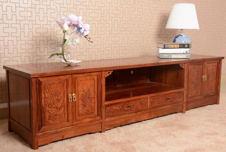 十大品牌红木家具 亿诺巴中明清古典家具特价四季花红木电视柜