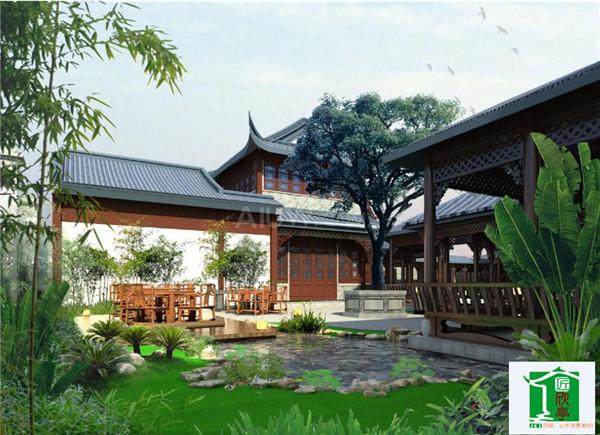 中国式庭院内的植物配置常以自然式树丛为主,重视宅前屋后名花,竹,菊
