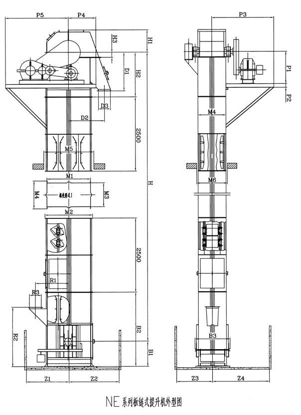 斗式提升机结构图 斗式提升机结构图说明书新乡市隆基图片
