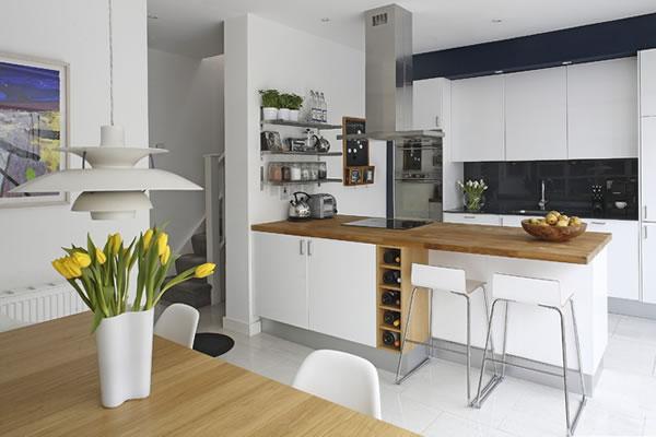 家用厨房l形手绘设计