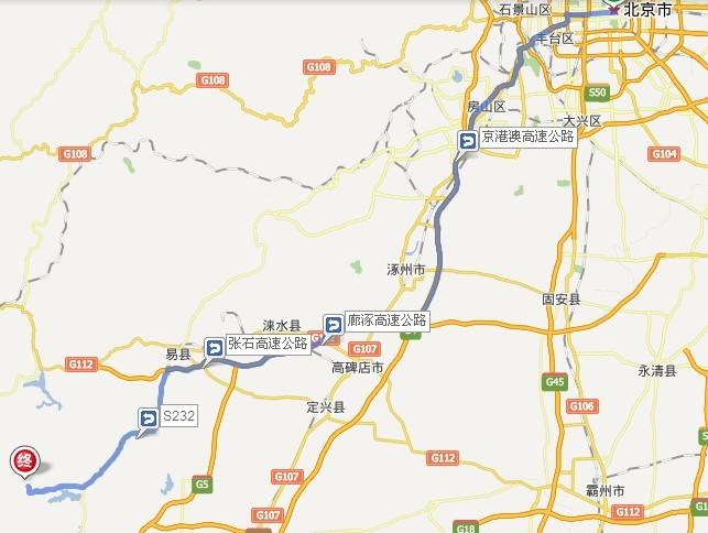 北京到狼牙山自驾车路线图-旅游交通-商讯中心