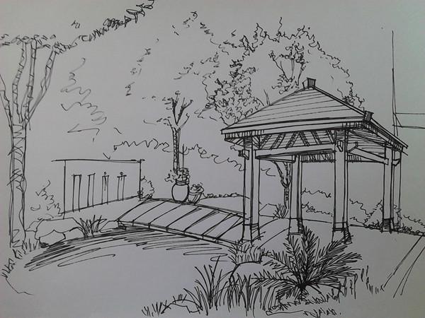 素描农业风景画