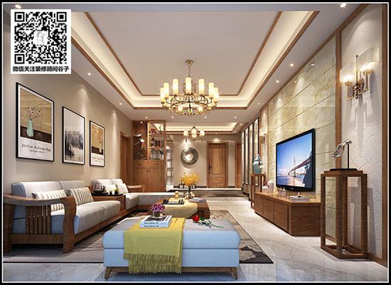 宜家湘颂100平米装修价格 现代新中式风格装修效果图图片