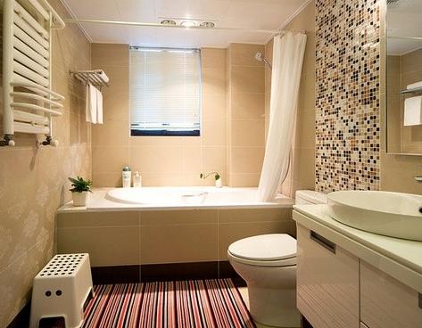 一个原则就是充分利用卫生间的空间,易简单明了,将洗手池,马桶,浴室等