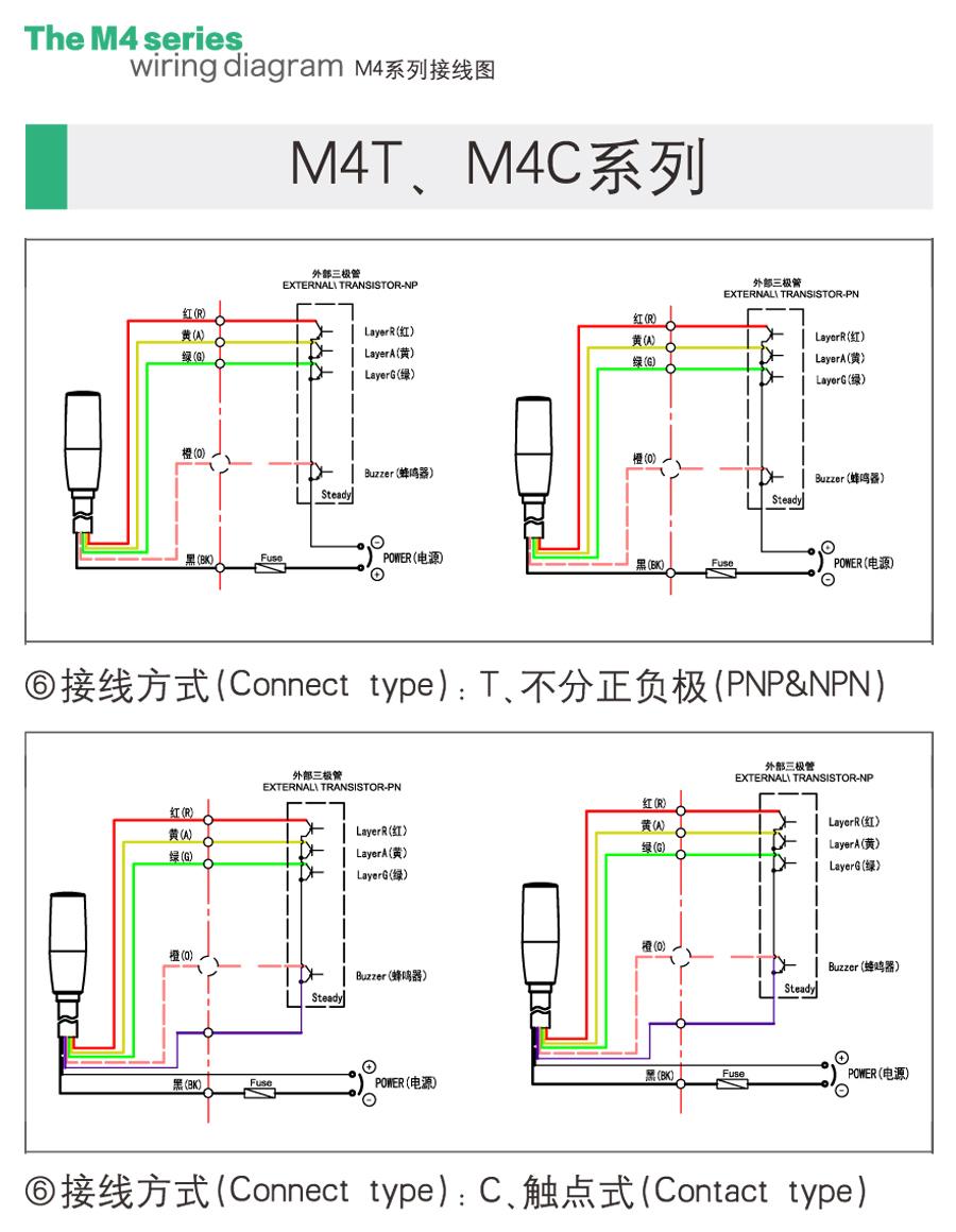 三色警示灯m4t接线图