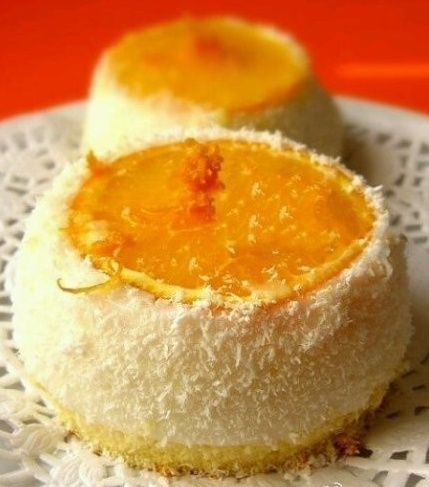 戚风蛋糕,橙子,奶油,柑橘蜂蜜,鱼胶粉.2.