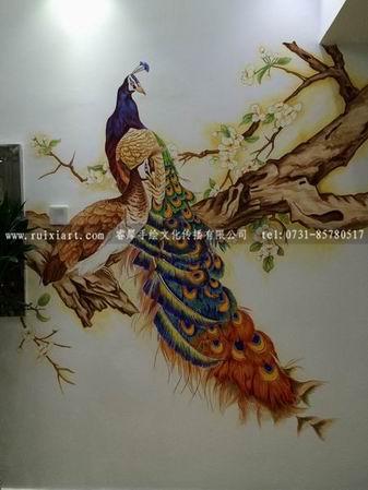 长沙哪家墙绘动物墙绘画的好,请欣赏睿犀手绘的孔雀锦鲸鲨等,好多动物啊 - 深圳酷易搜