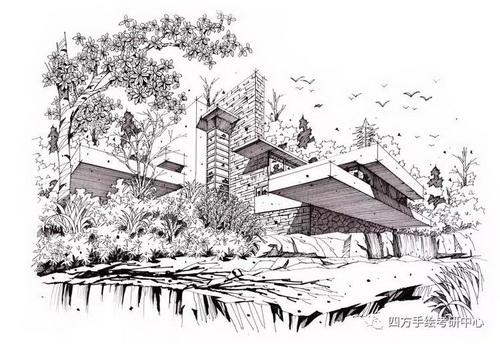 建筑手绘+黑白 (8)