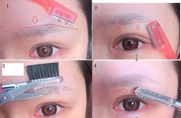 step 5:用眉笔框出眉形,眼眉距离窄的mm可以把眉头画高