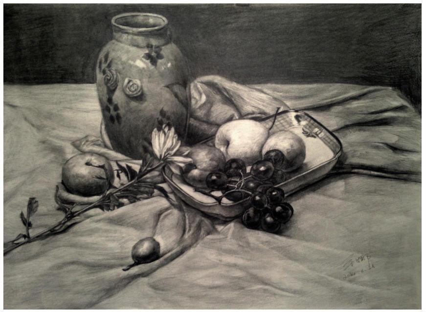 油画棒、水彩画、黑白线描画、彩色铅笔画.在拾光,孩子们也高清图片