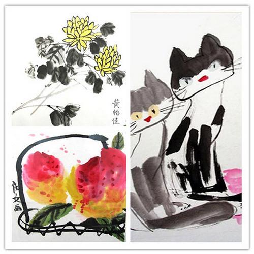 儿童水墨画工具-少儿们的国画童稚味浓厚,彩墨效果强烈