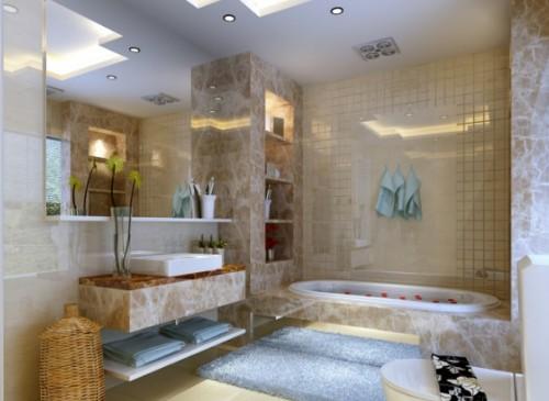 卫生间吊顶上投射在墙壁上的灯光如同明媚的阳光照在墙上.墙砖颜