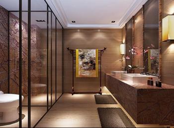 卫生间的青花瓷纹洗手盆和表面带有花鸟图案的浴室柜,尽显中式典雅图片