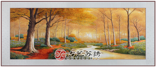 苏州刺绣挂画图片_【品牌】古艺苏绣    【名称】苏绣 九寨沟风景