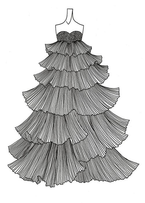 手绘纱裙铅笔画