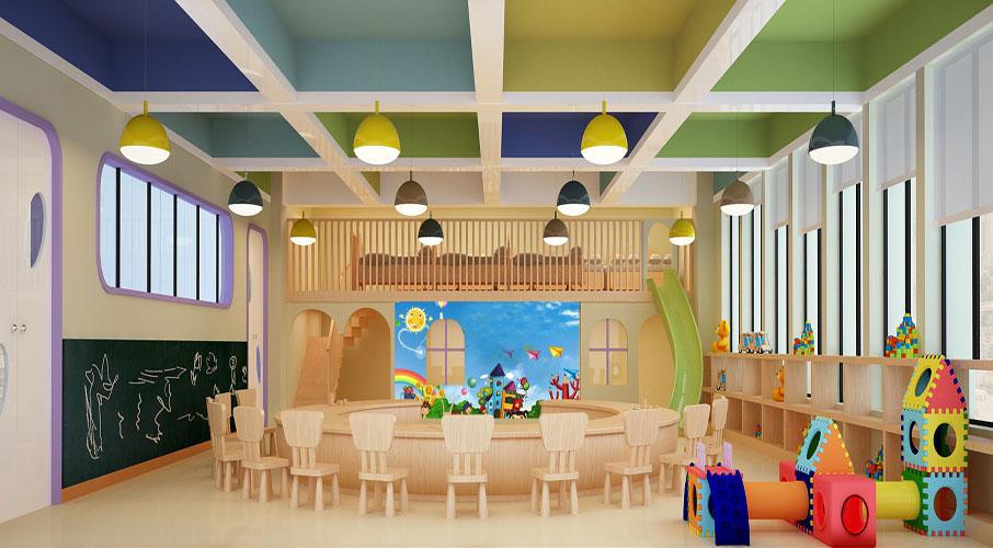 这是属于幼儿园的活动区域,涂鸦墙,玩具群,滑梯这个空间对于开发儿童