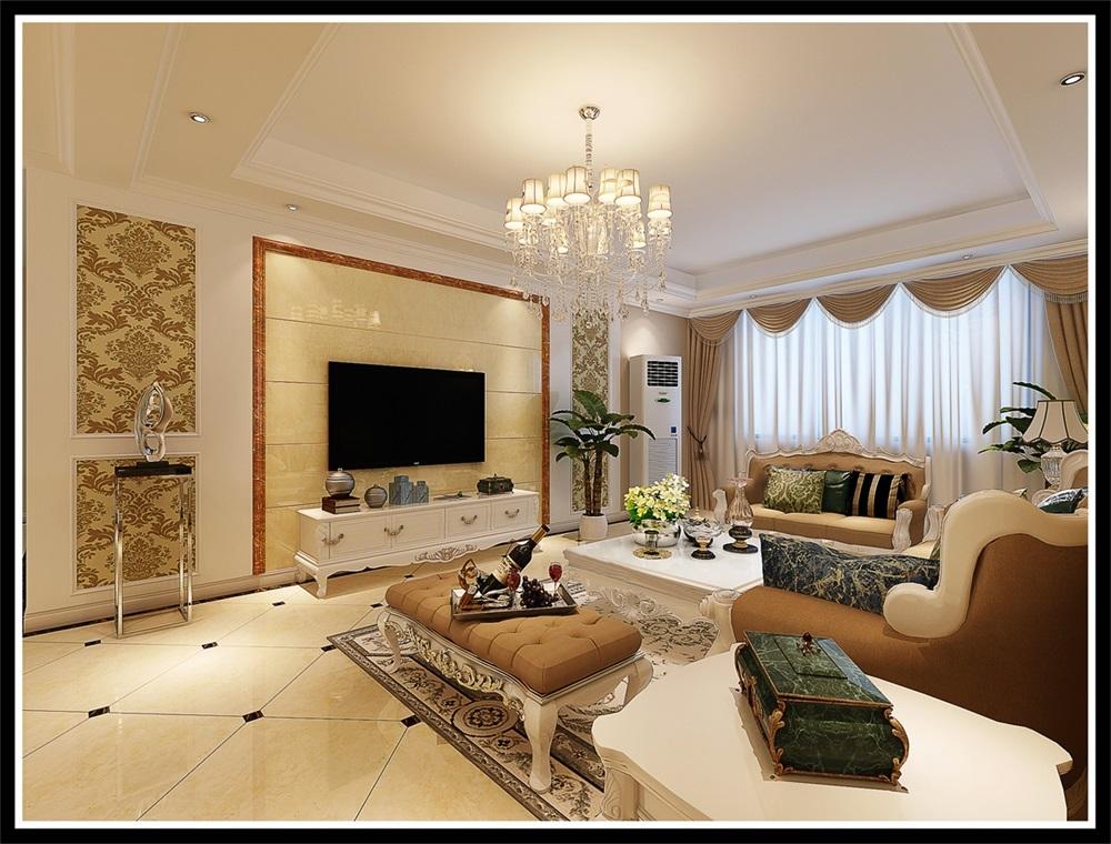 客厅:墙面以暖咖色为主,顶面简单的回字吊顶与双层石膏线条的设计